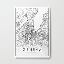 Geneva City Map Switzerland White and Black Metal Print