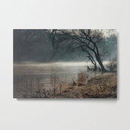Morning fog, river and sunrise Metal Print