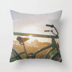Bike & Beach in Sunny Manhattan Beach, California Throw Pillow