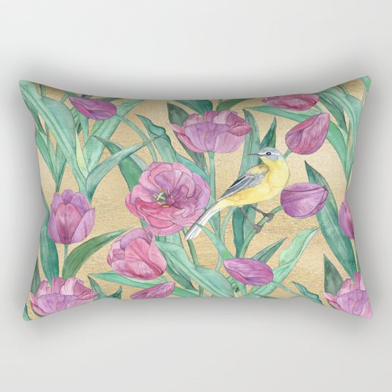 Blue Headed Wagtail in the Tulips Rectangular Pillow