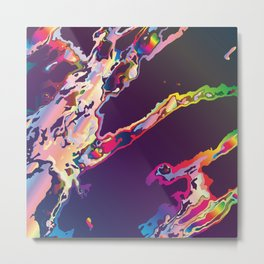 Abstract Gasoline On Water Metal Print