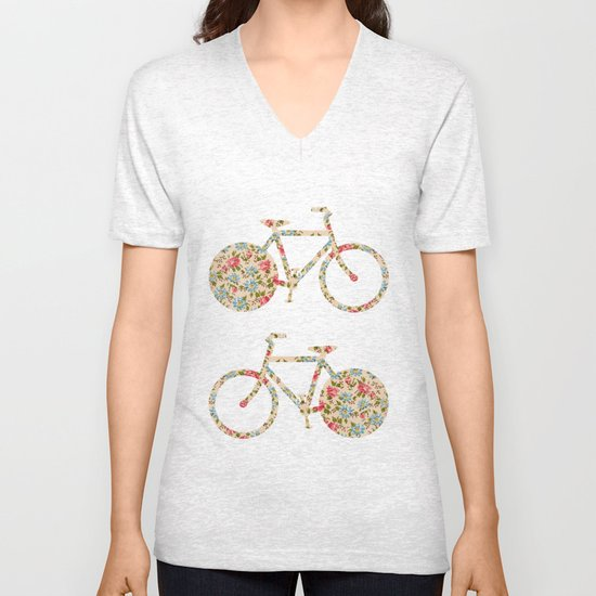 Whimsical cute girly floral retro bicycle Unisex V-Neck
