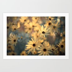 Autumn Botanical Muted Sunflowers Art Print