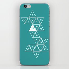 Teal Unrolled D20 iPhone Skin