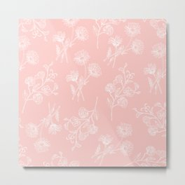 Pink Daisy & Sweet Pea Metal Print
