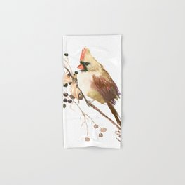 Cardinal Bird and Fall Berries Hand & Bath Towel
