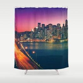Magnificent Romantic Evening Red Oakland Bay Bridge San Francisco California United States Ultra HD Shower Curtain