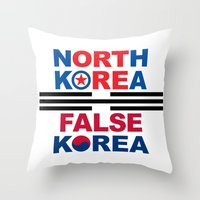 korea Throw Pillows featuring North Korea by pollylitical