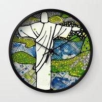 rio de janeiro Wall Clocks featuring Rio de Janeiro - Brazil by Luciana Pupo