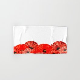 Poppies on White Hand & Bath Towel