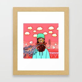 Man and pipe Framed Art Print