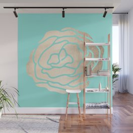 Rose in White Gold Sands on Tropical Sea Blue Wall Mural