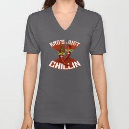 Bros Just Chillin Pepperoni Hot Scoville Unisex V-Neck