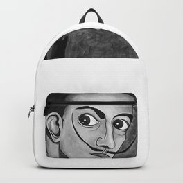 Salvador Dalí black and white portrait Backpack