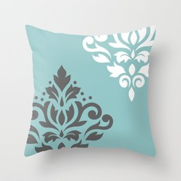 Scroll Damask Art I Gray White Teal Throw Pillow