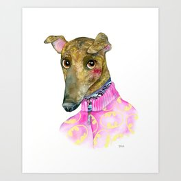 Petra Hipster Greyhound Portrait Art Print