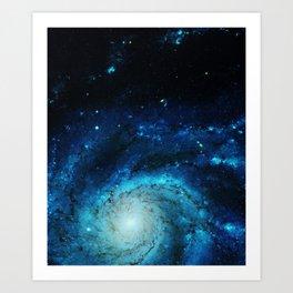 Teal Pinwheel Galaxy Art Print