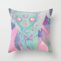 loll3 Throw Pillows featuring Mermaid by lOll3