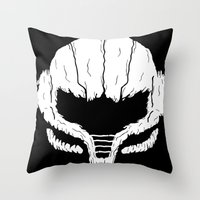samus Throw Pillows featuring SAMHAIN SAMUS by UNDEAD MISTER / MRCLV