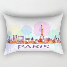Paris City Skyline HQ, Watercolor Rectangular Pillow