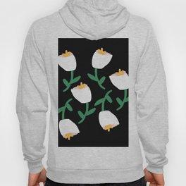Tulips Dancing in White on Black Hoody