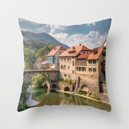World Popular Ancient Capuchin Bridge Skofja Loka Slovenia Europe Ultra High Resolution Throw Pillow