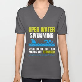 Funny Open Water Swimming Shark  Unisex V-Neck