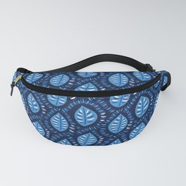 Beautiful Decorative Blue Leaves Pattern Fanny Pack