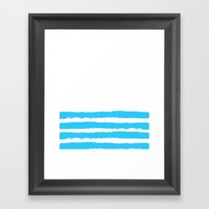 Simply hand-painted teal stripes on white background -Mix & Match Framed Art Print