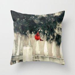 Snowy Day Cardinal Throw Pillow