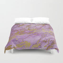 Gold Glitter and Ultra Violet Marble Agate Duvet Cover