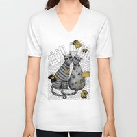 hats V-neck T-shirts featuring Two Cats Without Hats by Judith Clay