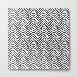 Zebra stripes minimal black and white modern pattern basic home dorm decor nursery Metal Print