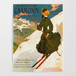 Vintage Chamonix Mont Blanc France Travel Poster