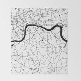 London Minimal Map Throw Blanket