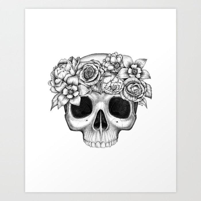Flowerskull Art Print