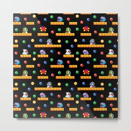 Bubble Bobble Retro Arcade Video Game Pattern Design Metal Print