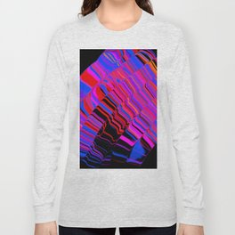 curved ripples on black Long Sleeve T-shirt