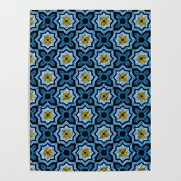 V6 Blue Traditional Moroccan Natural Leather - A4 Poster