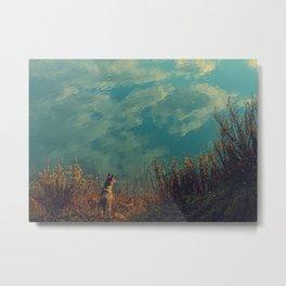 Wolfdog blue landscape Metal Print