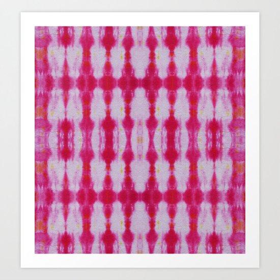Fuchsia Tie Dye Stripe 1 Art Print