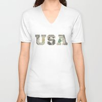 the national V-neck T-shirts featuring National Anthem by anthonykun
