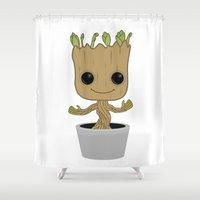 groot Shower Curtains featuring Little Groot by Pete