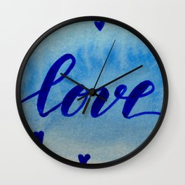 Valentine's Day Watercolor Love - blue Wall Clock