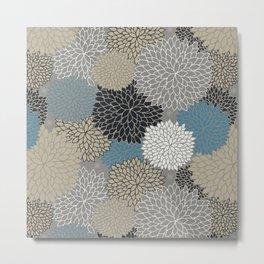 Floral Pattern Chrysanthemums Grey, Navy, Blue Metal Print