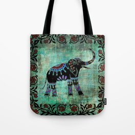 Decorated Elephant Rustic Floral Design Tote Bag