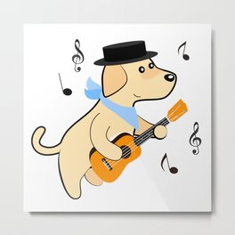 Omurice the little puppy - Playing Ukulele Metal Print