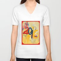 new year V-neck T-shirts featuring new year by luiza13