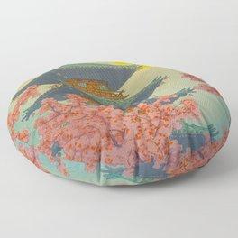Pagoda, Ueno Park in Spring Evening Kasamatsu Shiro Japanese Woodblock Painting Asian Beautiful Ink Floor Pillow