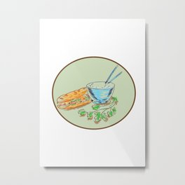 Bánh Mì Sandwich and Rice Bowl Drawing Metal Print